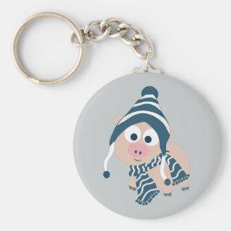 Winter Pig Keychain