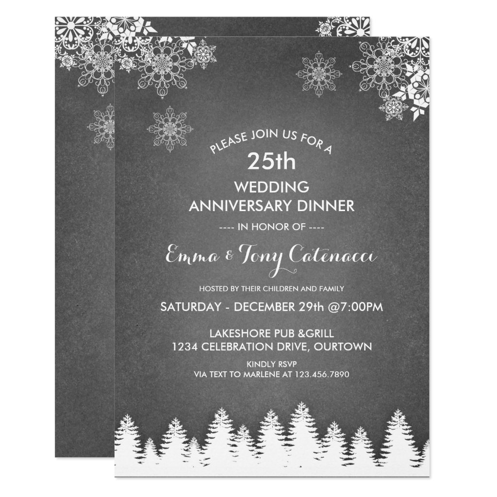 Winter Pine 25th Wedding Anniversary Dinner Invitation