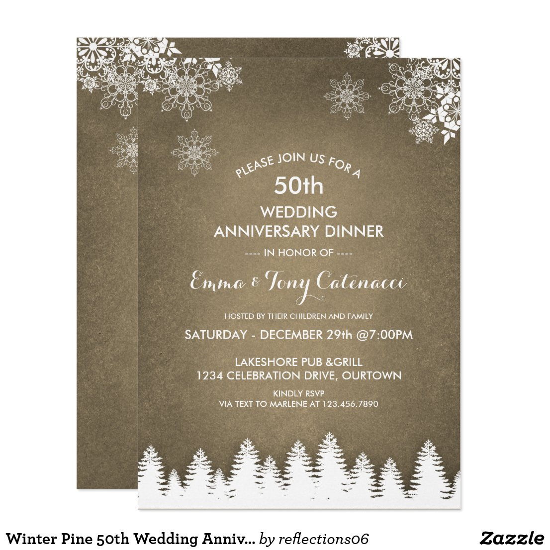 Winter Pine 50th Wedding Anniversary Dinner Invitation