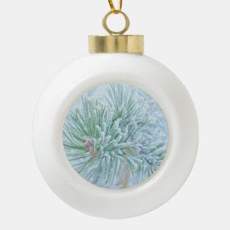 Winter Pine Ceramic Ball Christmas Ornament