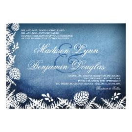 Winter Pine Cones Holiday Blue Wedding Invitations