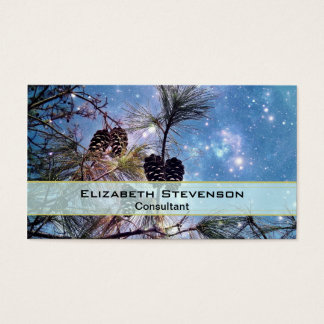 Winter Pine Cones under a starry night sky Business Card