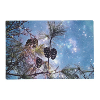 Winter Pine Cones under a starry night sky Placemat