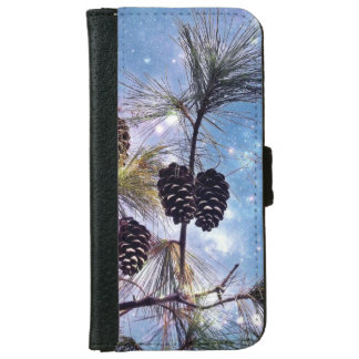 Winter Pine Cones under a starry night sky Wallet Phone Case For iPhone 6/6s