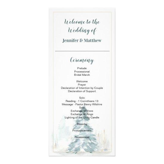 Winter Pine Romance Wedding Program Cards