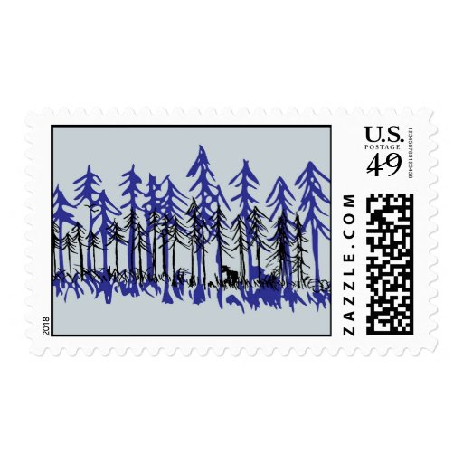Winter Pine Stamps