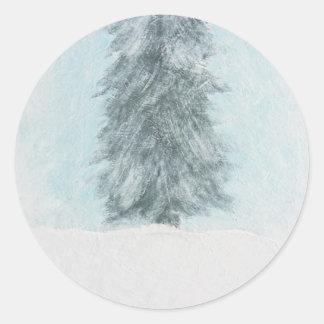 Winter Pine Tree - Acrylic Painting Classic Round Sticker