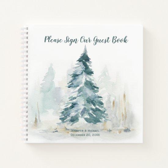 Winter Pine Tree Buffalo Plaid Wedding Guest Book
