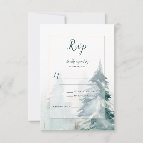 Winter Pine Tree Buffalo Plaid Wedding RSVP