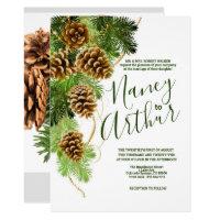 Winter Pine Tree & Pine Cones Wedding Invitation