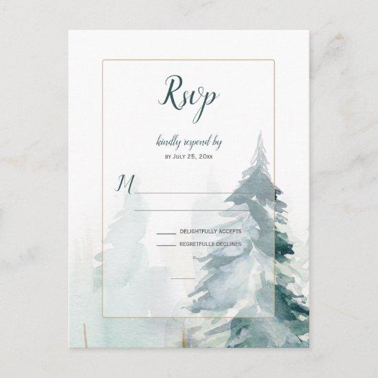 Winter Pine Tree Wedding RSVP Postcard