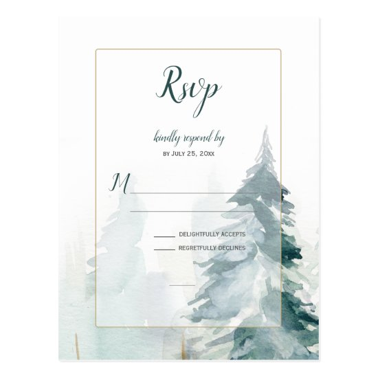 Winter Pine Tree Wedding RSVP Postcard