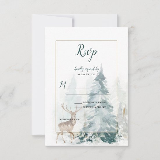 Winter Pine Tree with Snow-Covered Stag RSVP