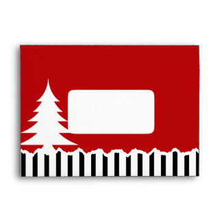 Winter Pine Trees and Stripes Red Envelopes