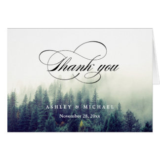 Winter Pine Trees Forest Script Thank You Card