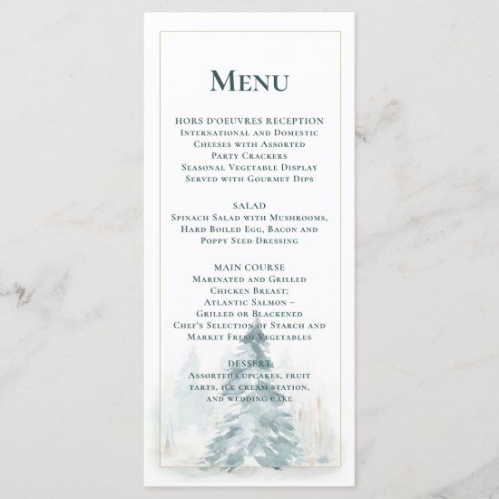 Winter Pine Trees w/Buffalo Plaid Background Menu