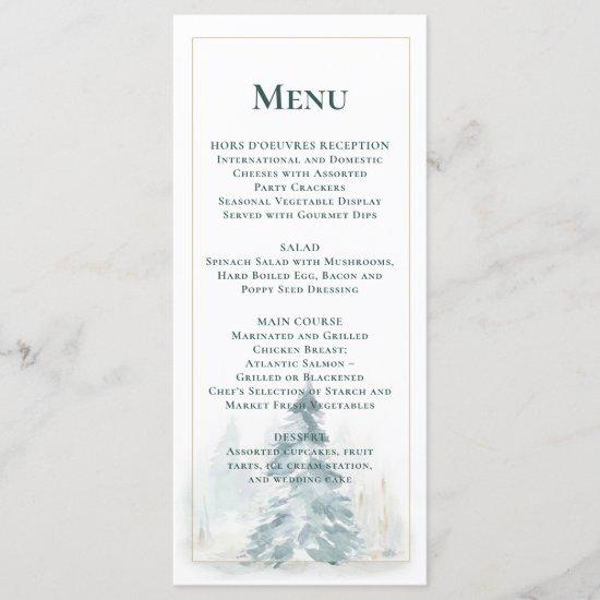 Winter Pine Trees w/Buffalo Plaid Background Menu