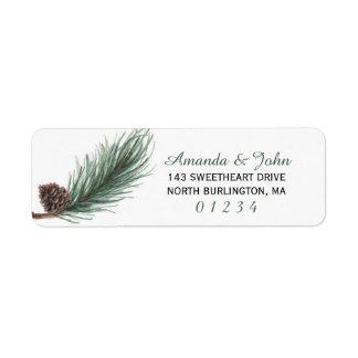 Winter Pine Watercolor | Return Label