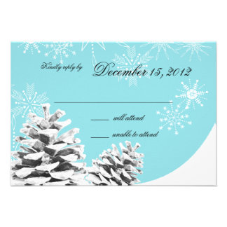 Winter Pinecones and Snowflakes Response Personalized Invitation