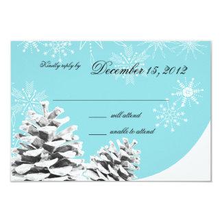 "Winter Pinecones and Snowflakes Response 3.5"" X 5"" Invitation Card"
