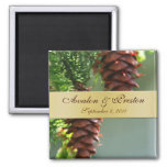 Winter Pinecones Gold Ribbon Save The Date Magnet