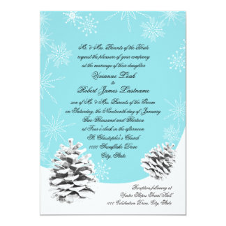 "Winter Pinecones Wedding 5"" X 7"" Invitation Card"