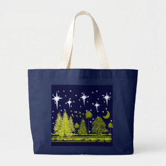 Winter Pines Bag-Stars and Green Moon Large Tote Bag