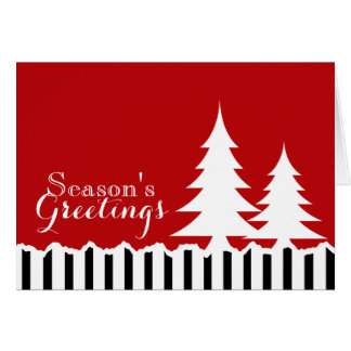 Winter Pines Festive Red Greeting Greeting Cards