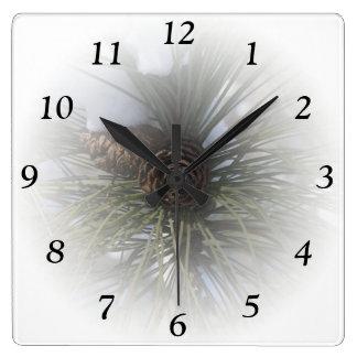 Winter Pines Square Clock