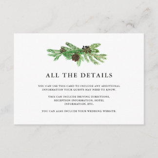 Winter Pines Wedding Guest Details Enclosure Card