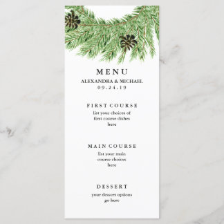 Winter Pines Wedding Menu