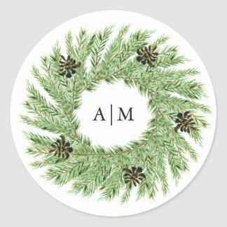 Winter Pines Wedding | Monogram Classic Round Sticker
