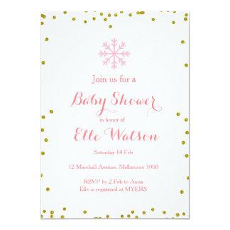 Winter Pink Gold Baby Shower Invitation
