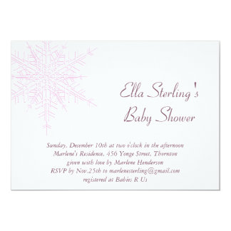 Winter Pink Snowflake Baby Shower Invitation