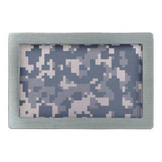 Winter Pixelated Camoflage Rectangular Belt Buckle