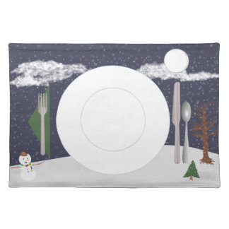 Winter placemat with plate, glass & flatware