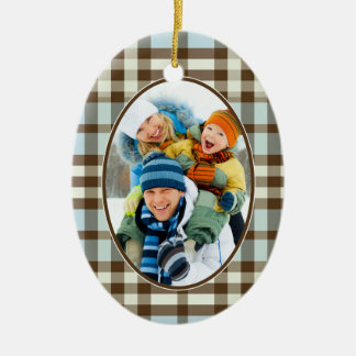 Winter Plaid Custom Christmas Ornament (blue)