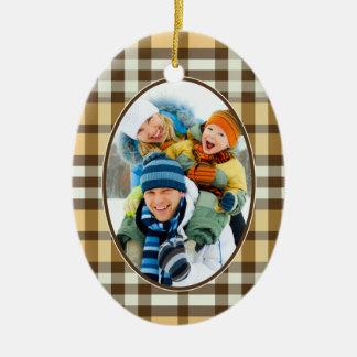 Winter Plaid Custom Christmas Ornament (gold)