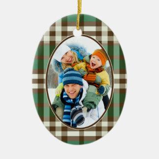 Winter Plaid Custom Christmas Ornament (green)