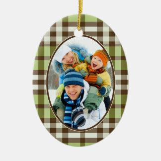 Winter Plaid Custom Christmas Ornament (lime)