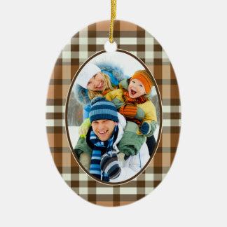 Winter Plaid Custom Christmas Ornament (mocha)