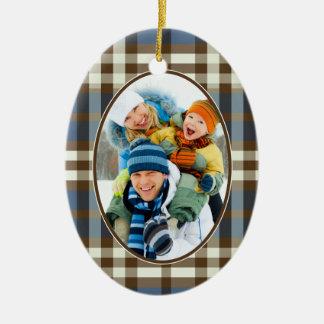Winter Plaid Custom Christmas Ornament (navy)