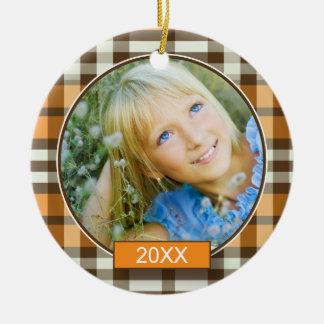 Winter Plaid Custom Christmas Ornament (orange)