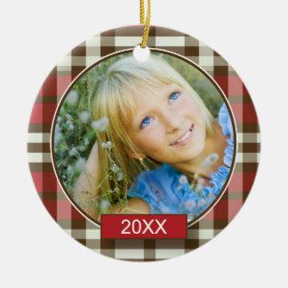 Winter Plaid Custom Christmas Ornament (red)