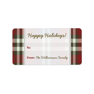 Winter Plaid Holiday Gift Tag (maroon) Personalized Address Labels