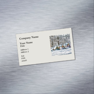 Winter Playground Magnetic Business Card