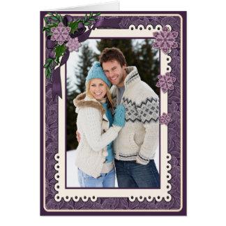 Winter Plum Poinsettia Photo Greetin Card
