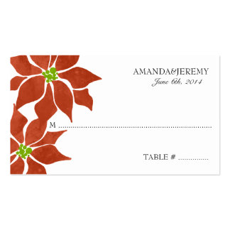 Winter Poinsettia Watercolor Place card Business Card Templates