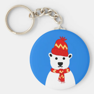 Winter Polar Bear Keychain