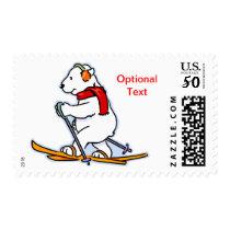 Winter Polar Bear Skiing - Customize Postage